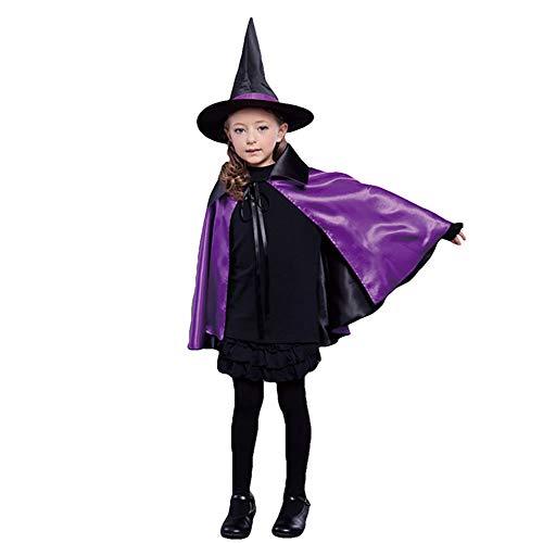 Yalatan Children Halloween Umhang Zauberer Hexenkostüm Runde Spitzhut Set Anzieh Party Kleidung(Violett,70cm)