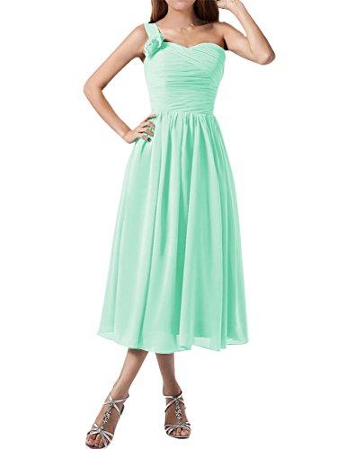 Find Dress Plissé Robe Soirée Grande Taille pour Cérémonie Femme Mariage avec Bretelle Asymétrique Robe Demoiselle d'Honneur Mi Longue Princesse Fête Noel Wedding Dress Vert Menthe