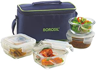 Borosil Glass Lunch Box Set with Bag, 4-Pieces, Blue