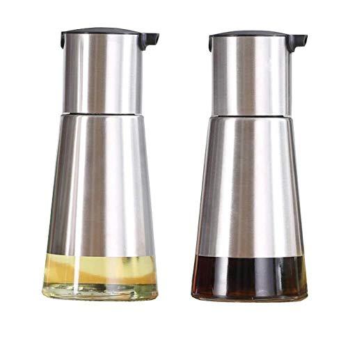Duradero, antideslizante, resistente, de gran capacidad Dispensador de aceite y vinagre controlables 2 paquetes, botella de aceite de oliva de vidrio for cocinas, Gran Capacidad sin diseño de goteo pe