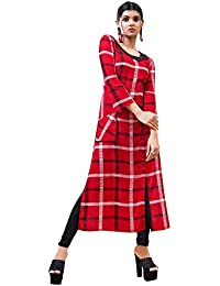 Rose Petals Fully Stitched Indo Western Reyon Check Kurti in Different Designer Cuts and Style with unique neck detailing (CHEp5003), check dress for women western, checks kurtis for women latest