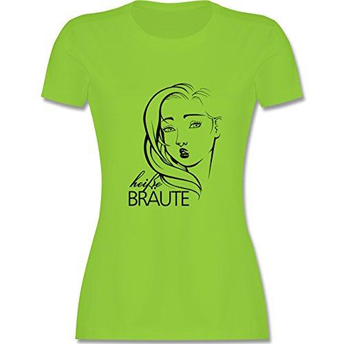 JGA Junggesellinnenabschied - Heiße Bräute - tailliertes Premium T-Shirt mit Rundhalsausschnitt für Damen Hellgrün