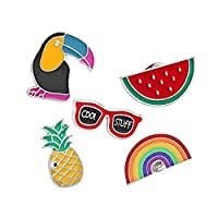 Weanty 5Pcs Brooch Pin Back Women Girls Clothes Bag Accessories Cartoon Brooches Pin Badge Birthday Jewelry Gifts for Men Boy