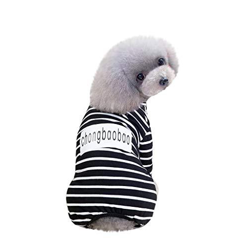 JKRTR Fashion Haustier Frühling Sommer 2019,Trainingsanzug Frühling und Sommer Gestreifte vierbeinige einfache Kostüme(Schwarz,XXL) (Einfach Ein Kostüm Olive)