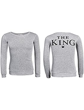 Felpa Per Uomo E Donna The King - His Queen Colore Grigio (The King - M)