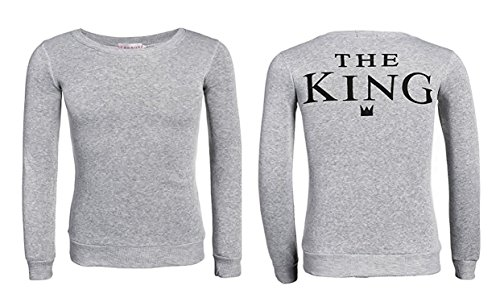 Sweatshirt - Männer - Frauen - The King - His Quenn - Farbe - Grau - (The - King XL)