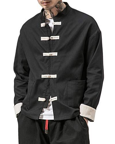 Liangzhu Herren Leinen Mäntel China Handgemachte Kung Fu Tai Chi Baumwolle Jacke Von Maßschneider Schwarz M -