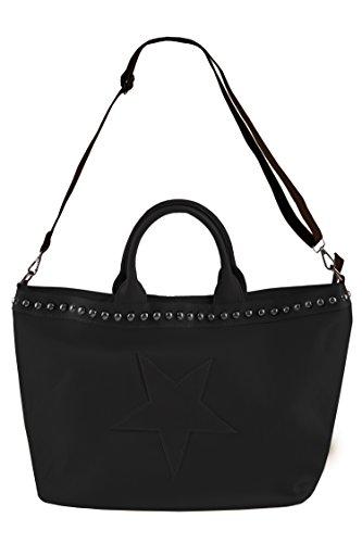 Handtasche / Shopper für Damen der Marke Kurt Kölln / Nieten - Lederriemen / tragbar als Schultertasche / Henkeltasche - perfekte Accessoire Schwarz