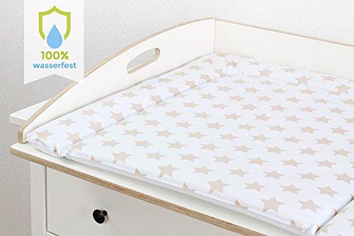 New Swedish Design Wickelauflage 77 x 73 cm Wickelunterlage für 80 cm breiten Ikea Kommoden Wickelaufsatz passt z. B u. Puckdaddy frei von Schadstoffen u. abwaschbar WEISS mit BEIGEN STERNE