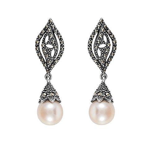Esse Ring Markasit Sterling Silber chinesische Süßwasserperle und Markasit Viktorianischer Drop Ohrringe