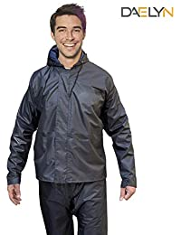 DAELYN Men's Heavy duty Waterproof Windproof Raincoat with Tapping Inside Pant (Black, Free Size)