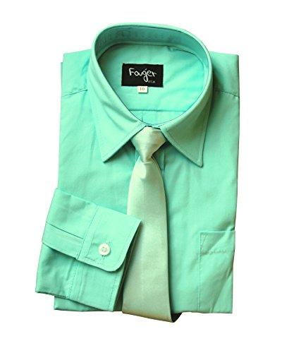 BIMARO Jungen Kinderhemd mit seidener Krawatte Mint grün Hemd Festlich Langarm Hochzeit Kommunion Taufe Einschulung, Größe:14 (170/176)