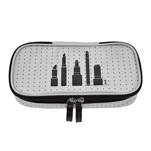 Incidence Paris Black Picto Trousse à Maquillage, 23 cm, Argent