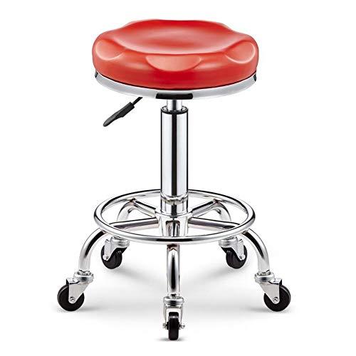 WYYY Bürostuhl Salon Hocker Bar-Drehstuhl PU Sitz Stuhl Für Maniküre Pub-Stuhl Gaslift Höhenverstellbar Durable stark (Color : Red)