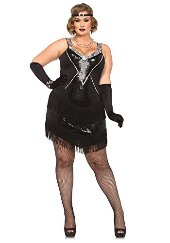 Leg Avenue 85474X - Glamour Flapper Damenkostüm Set, Größe 3X-4X EUR 48-50, schwarz/Silber