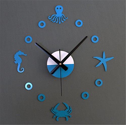 Wall clocks orologio da parete campana famiglia pendolo polpo granchio dell'ippopampo del granchio della stella marina di stile dell'oceano mediterraneo creativo diy orologio divertente muto della tavola blu
