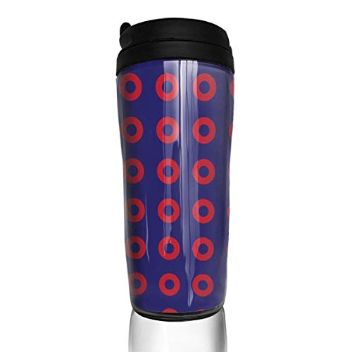 Travel Coffee Mug Phish Red Donut Circles On Blue 12 Oz Spill Proof Flip Lid Water Bottle Environmental Protection Material ABS