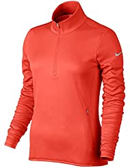 Nike Thermal 1/2 Zip Camiseta de Manga Larga de Golf, Mujer, Naranja (Max Orange / Max Orange / Wolf Grey), 2XL