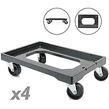 PrimeMatik - Plataforma con Ruedas para Transporte de Cajas eurobox 60 x 40 cm 4-