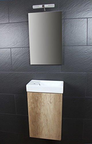 Galdem Bad-Set CUBE Gäste WC Set Gästebad Badmöbel Waschbecken Unterschrank Keramikwaschbecken Waschtisch Spiegel Beleuchtung Softclose Monumental OAK