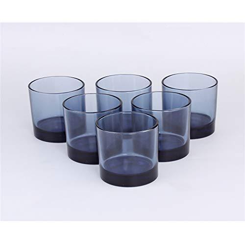 Nouveauté Party Glass Cups Verres à jus résistant à la Chaleur de thé Verres à bière Verres à Whisky en Verre pour Cuisine Set de 6 Bleus