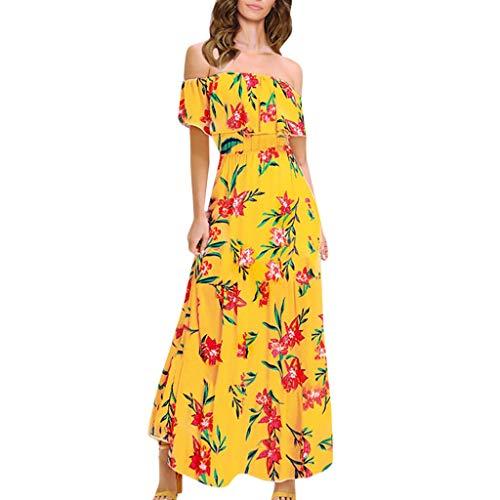 TUDUZ Vestido Mujer Elegante Largo Floral con Hombros Descubiertos Vestido Largo Sin Mangas (Amarillo, XL)