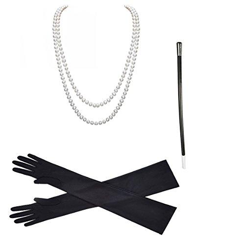 Meetory 1920er Jahre Zubehör Flapper Kostüm, Halskette Handschuhe Zigarettenspitze Set (Länge Stretch-satin-handschuhe)