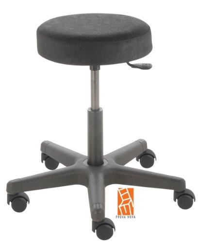 Arbeitshocker , Arzthocker, Drehhocker, Rollhocker Modell comfort, Hubbereich ca. 46 - 59 cm, Rollen mit harter Radbandage. Ideal geeignet für weiche Böden wie z.B. Teppich. Sitzfarbe schwarz
