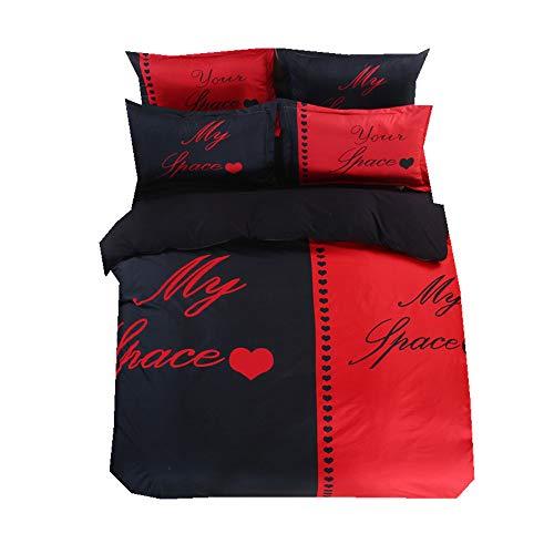 Seine Seite Ihre Seite Bettbezug Set Weiß Schwarz Rot, Ehefrau Ehemann Paar Humorvoll Bettwäsche Set mit Kissenbezug (Mein Platz, 220x240cm-4 Stück) - Bettbezug Rot