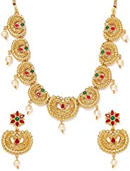 Zaveri Pearls Green & Pink Stones Traditional Pearls Choker Necklace & Earring Set For Women-