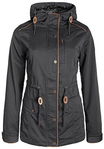 DESIRES Anja Damen Übergangsjacke Mantel Parka leichte Jacke mit Kapuze, Größe:XL, Farbe:Dark Grey (2890)