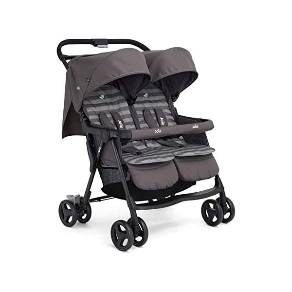 Joie Aire Twin Stroller Buggy Pushchair - Dark Pewter Joie Contents: 1x Aire Twin Stroller, 1x raincover, 2x seat liners, 1x adjustable hood with sun visor and peekaboo window, 1x large shopping basket Lockable front swivel wheels with all around suspension and single step ShoeSaver brake SoftTouch 5-point safety harnesses adjust to 3 different heights 1