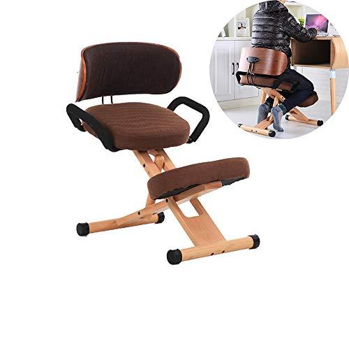 Professioneller ergonomischer Stuhl mit einzigartiger Verstellbarkeit Verstellbarer Squat-Stuhl für Nacken-, Rücken- und Rückenprobleme - Kaffee [Energieeffizienzklasse A]