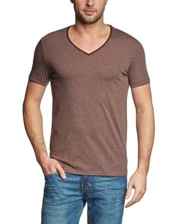 Tom Tailor Denim - T-shirt - Uni - Col V - Manches courtes - Homme, Marron (8287 Oak Brown), 46