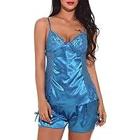 Keepwin LenceríA Sexy Mujer, Mujeres V Cuello CamisóN Sexy SatéN Ropa De Dormir Encaje Chemise Mini Teddy Disfraces Eroticos Tanga Pijamas