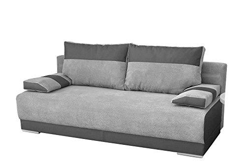 mb-moebel Couch mit Schlaffunktion und Bettkasten Sofa Schlafsofa Wohnzimmercouch Bettsofa Ausziehbar Nisa