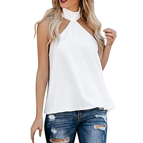 Oksea Neckholder Damen Ärmel Bluse Hemd Chiffon Langarmshirts Oberteile Tops elegant Summer Sexy Solid Halter Sleeveless Solid Loose Casual Top Tank Shirt Vest