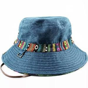 ezyoutdoor-dark-blue-sun-hats-floral-casual-beach-hat-narrow-brim-straw-hat-ribbon-braid-bucket-hats