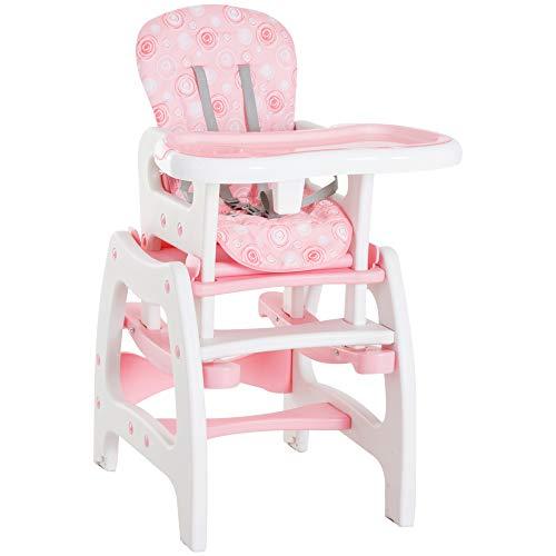 HOMCOM Trona Bebé 3 en 1 Sillita Trona Mecedora Balancin Bebe Convertible Multifuncional Infantil Color Rosa