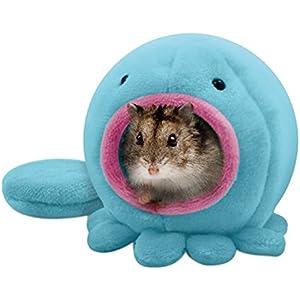 [Gesponsert]Handfly Haustierbett, rund Baumwolle Warm Sleep Nest Baby Ratte Hamster Vogel Eichhörnchen warme weiche Bett Haustier Spielzeug Haus Käfig Octopus Form für jede kleine Haustiere (Blau)