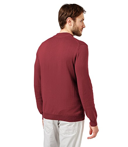 WoolOvers Pull à col cheminée - Homme - Soie & coton Claret Red