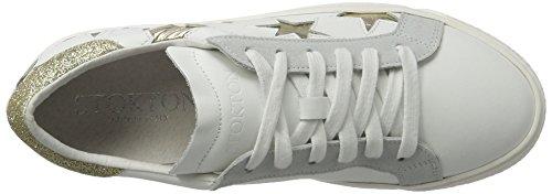 Stokton Damen 352-d Sneaker Weiß (Bianco + Platino)