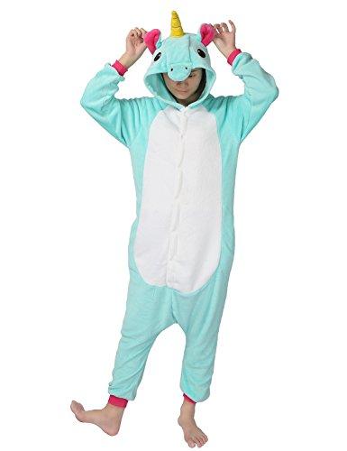 Costume carnevale halloween unicorno pigiama intero party cosplay anime unisex adulto per regalo (xl: altezza 181-190cm, verde chiaro)