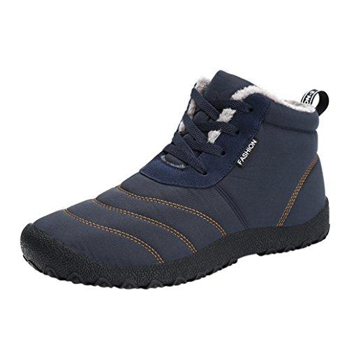 Oyedens Herren Damen Winterschuhe Warm Gefüttert Winter Stiefel Kurz Schnür Boots Schneestiefel Outdoor Freizeit Schuhe (39, Blau)