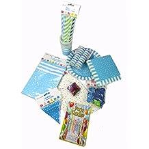 Juego de Decoracion Cumpleaños 93 piezas Azul / Azul Claro / Verde / Turquesa. Fiestas de Jardin, Cumpleaños, Fiestas Infantiles.