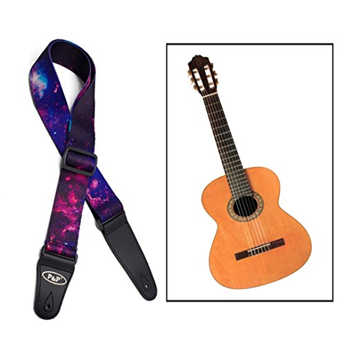 Itian Gitarrengurt mit Einstellbarer Länge/Polyester Gitarrengurt für Bass,Elektro & Akustik Gitarren