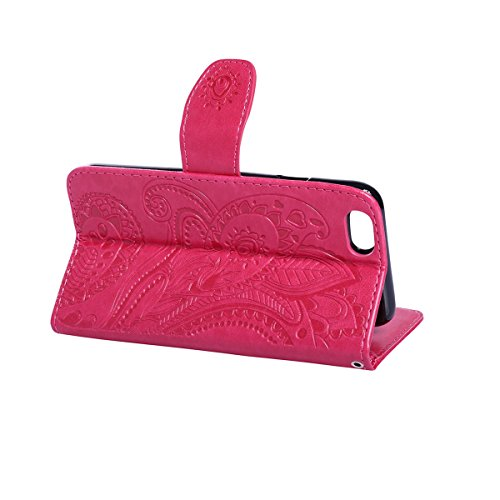 iPhone 6S Hülle,iPhone 6 Hülle,SainCat PU Leder Hülle Brieftasche im BookStyle Wallet Case Lederhülle Folio Karikatur Muster Bär Schutzhülle Ledertasche Hülle Bumper Handytasche Skin Schale Soft Backc Pfaublume-Rose Red
