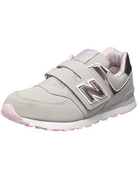 New Balance 574v1, Zapatillas Unisex Niños, Gris (Grey/Pink), 39 EU