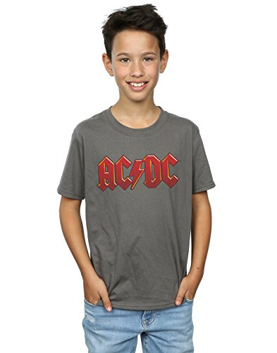 AC/DC niños Dark Red Logo Camiseta 9-11 Years Carbón