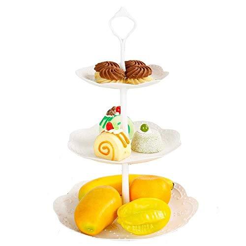 Ljwjialo Multifunktional 3 Tier Dessert Cake Tower Ständer Kuchenständer Und Obstteller Geprägtes Geschirr for Den Nachmittagstee Hochzeit Geburtstag Kuppel (Size : Round) 3-tier-dessert-server